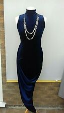 Club L Dress Size 8 midnight blue stretch long velvet look.