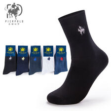 1 Pairs Men's Business Pier Polo Solid Crew Combed Cotton Dress Socks Casual