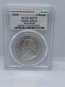 2018 SOUTH AFRICA SILVER KRUGERRAND 1 oz 1 RAND MS70 PCGS - FIRST STRIKE #340