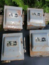 4 Vintage Wadsworth Electrical On /Off Fuse Boxes Circuit Breaker 30 Amp 3 Pole