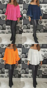 Ladies Off The Shoulder Blouse Womens Pleated Bardot Party Shirt Top Plus Size
