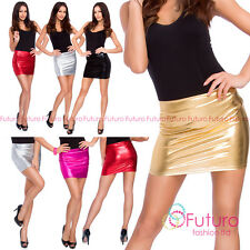 Women's Sexy Shiny Metallic Liquid Wet Look Faux Leather Casual Mini Skirt RIO