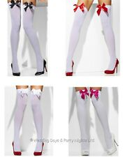 Smiffys Sexy White Hold-Ups Bow Top Stockings Ladies Fancy Dress Halloween Xmas