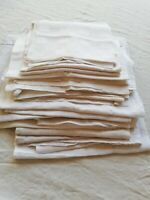 LOT of Linen and Damask Small Fabric Panels Vintage French Asst Textures 3lbs Wt