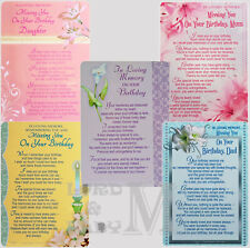 Memorial / In Loving Memory - Graveside BIRTHDAY Family / Friend / Open Card