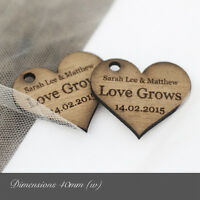 Personalised 40mm Wooden Heart Decorations / Favours. Rustic / Vintage Weddings.