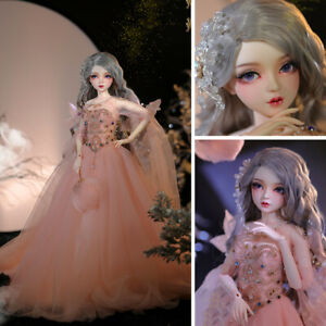 55cm Resin BJD Doll Ball Jointed Female Body with Full Set Outfit Changeable Eye