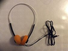3.5MM Stéréo Écouteur casque Audio vintage arceau métal avec mousses orange