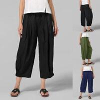 ZANZEA Femme Pantalon Décontracté lâche Poches Taille elastique Jambe Large Plus