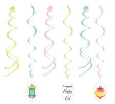 Happy Eid Lantern Hanging Swirls Islamic Muslim Holiday Decoration (6 pack)