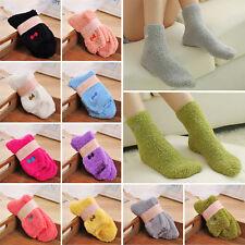 Women Girls Bed Socks Pure Thick Fluffy Warm Winter Kids Gift Soft Floor Home UL