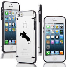 For iPhone 4 4s 5 5s 5c Transparent Clear Hard TPU Case Cover Horse with Rider