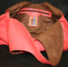 LARGE LEATHER HOBO BAG BY ZUR ART BAG MALLORY CORAL ORANGE PURSE TOTE
