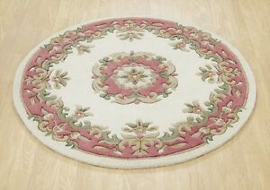 Cream Pastel Dusky Pink Round Chinese Aubusson Hand tufted Wool Rug 120x120cm