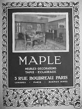 PUBLICITÉ 1927 MAPLE MEUBLES DÉCORATIONS TAPIS ÉCLAIRAGE - ADVERTISING