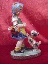 schöne,alte Porzellanfigur__Mädchen mit Hund_!