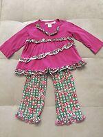 Baby Girl Baby Everyday Nay Nayetal Purple Flowers Ruffles Top Pants Sz 3T
