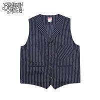 Bronson Vintage Railroad Stripe Vest Mens Work Sack Jacket With Back Buckle Blue