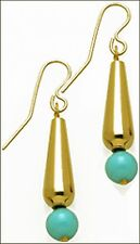 Gold Plated Small Turquoise Tear Drop Dangle Earrings & Gold-filled Ear Wires