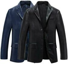 New Mens Sheepskin Blazer Leather Jacket Business Coat Outwear Classic Overcoat