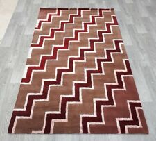 INDIAN  HAND TUFTED GEOMETRIC,WOOL,SILK, COTTON RUG,2.44 x 1.52M, BROWN,BURGUNDY