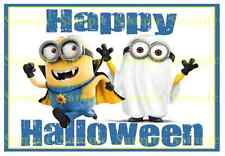 Minions Dispicable Me Halloween Ghost Vampire A5 Edible Icing Party Cake Toppers