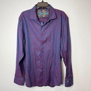 Robert Graham RARE Limited Edition Floral Classic Button Down Shirt Purple 2XL