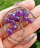 Amethyst stone Tree of life Pendant Chakra Reiki Healing Amulet Energy