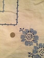 Vintage Heavy Linen Floral Border Cross Stitch Tablecloth w/ Crocheted Edges