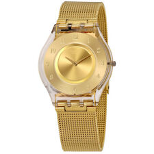 Swatch Generosity Gold Dial Ladies Mesh Watch SFK355M