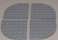 LEGO - 4 x Viertelrundplatte Viertelkreis 6x6 dunkelgrau / 6003 NEUWARE