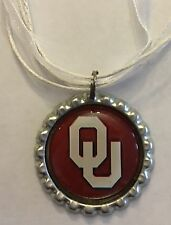 Handmade OU Sooners Inspired Bottle Cap Organza Voile Necklace