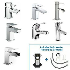 Neshome Cloakroom Modern Bathroom Basin Sink Mono Chrome Mixer Tap & Waste