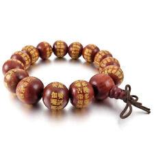 14mm Wood Link Bracelet Wrist Red Beads Tibetan Buddhist Prayer Bead Buddha A9u2