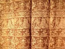 PAIR FRENCH ANTIQUE ROUGH STRUCTURED CINNAMON BROWN CURTAINS MEDIAVAL NOBILITY
