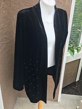 New Rare $129 Chico's Travelers Coll Velvet Studded Jacket Size 3 = XL 16 18 NWT