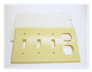 Art Deco BAKELITE 4 Gang 3 Light 1 Outlet Switch Plate iVORY NOS Renovation