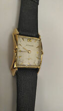 VINTAGE 14k Solid GOLD WITTNAUER Wristwatch fancy case serviced and keeps time.