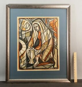 1978 Pencil Signed IRVING AMEN Abstract Painted Etching Print REBECCA AT WELL