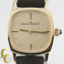 14k Yellow Gold Lucien Piccard Women's Hand-Winding Watch w/ Leather Band