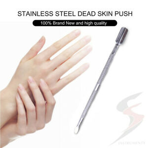 Cuticle Skin Pusher Nail Art Tool Manicure Remover Scraper Dual Sided Stainless