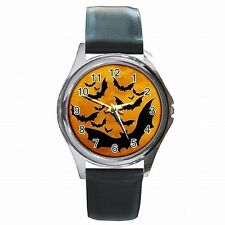 Halloween Black Bats Scary Bat Holiday Accessory Leather Watch New!