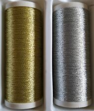 New Quality 1 x 100m  Each Gold & Silver Metallic Sewing Thread Hand /Machine.
