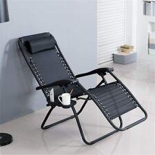 Outsunny Zero Gravity Garden Folding Chair Patio Sun Lounger w/Holder Black