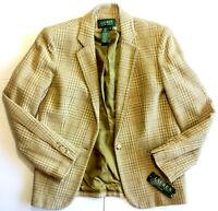 Ralph Lauren Womens Blazer Sport Coat Jacket Suit Plaid Anglesey Sz 10 NEW $285
