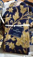 "Pottery Barn Set 4 Hanukkah Napkins Blue Gold 20"" sq Fabric Metallic Hannukkah"