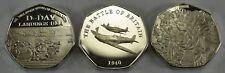 3 Silver WW2 Commemorative Coins D-Day, VE DAY & Battle Britain, 50p Collectors