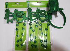 St. Patrick's Day Bundle Light-Up Necklaces Irish Glasses Headband NEW