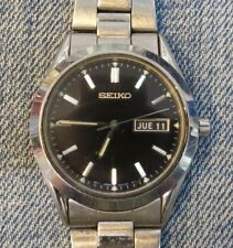 Vintage Men's Seiko Watch One Jewel 7N43-9070 Black Dial S/S Band Parts/Repair