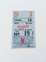 Authentic Rare Vintage 1961 Dodgers Baseball Game Ticket Stub LA Coliseum #13